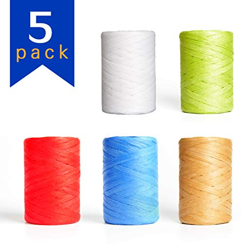 Wrapping Gifts PP OPOUNT 3 Bundles 3 Colors Natural Raffia for Decorating Christmas Hanging Tags Red, Green and Natural