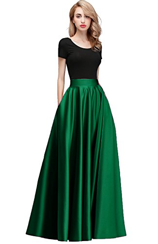 honey qiao Women Satin Skirts Long Floor Length High Waist Formal Prom Party Skirts with Pockets Back Zipper Closure Dark Green
