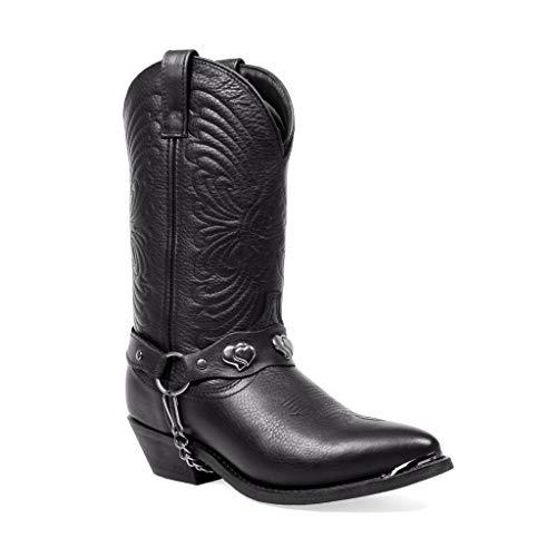 Masterson Women's Deertan Chain Cowboy Boot (Black, 8)
