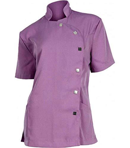 Pijama sanitario. Pijamas sanitarios baratos con tejido antimanchas. Pijama casaca sanitaria entallada en color malva.