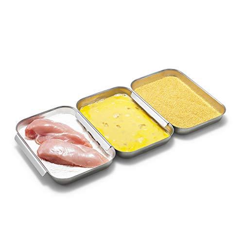 Supremery Panier-Set aus Edelstahl 3-teilig - 3X Schale zum Panieren 23 x 15 x 3 cm - Schnitzel Fleisch Fisch - Metall Panierstraße Grillschale rechteckig
