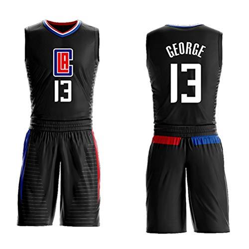 Morey, the Rockets, Jersey-Shorts Nr. 13 von Paul George für Kinder und Jugendliche, Los Angeles Clippers Nr. 13, ärmelloses Set, besticktes Basketball-Swingman-Jersey mit Mesh-Buchstaben-blue1-S