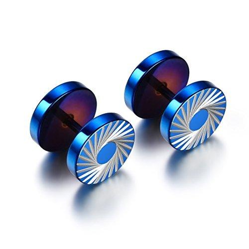 JewelryWe Schmuck Unisex Ohrringe, Edelstahl Silber Drache Tornado Muster Blau Ohrstecker, Ohrschmuck für Damen Herren, 10mm, ein Paar mit Geschenk Tüte