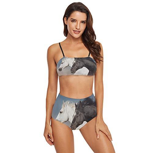 funnyy Zweiteiliger Bikini mit Tierpferd-Aufdruck, Badeanzug, Badeanzug, Badeanzug, für Damen, Teenager, Mädchen Gr. L, mehrfarbig