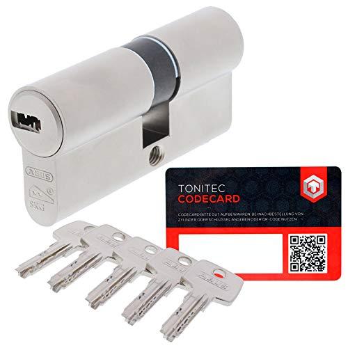 ABUS Türzylinder Schließzylinder Zylinder EC550 inkl. 5 Schlüssel inkl. ToniTec CodeCard Größe 40/45mm
