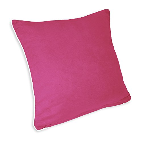 Kissenhülle Deko Kissen Wildleroptik Kissenbezug mit Paspel (pink weißer Rand, 40x40)