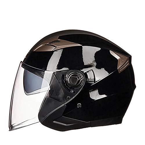 GuoYq Casco para Motocicleta eléctrica, Medio Casco de Doble Lente con batería...