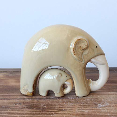 BENGKUI Escultura,2Pcs Elephont Home Decoración Crafts New Kiln Ceramic Mother and Child Elephones Handcraft Figurines Elefante Decoración del Hogar