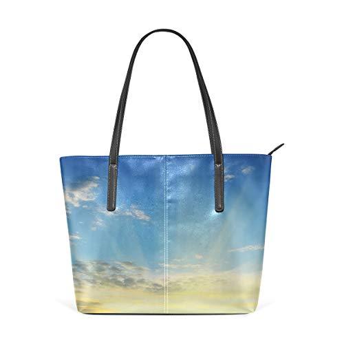 NR Multicolour Fashion Damen Handtaschen Schulterbeutel Umhängetaschen Damentaschen,Sonnenstrahlen über dem Horizont-Sonnenuntergang bewölkt szenische Saisonschönheit des Weltbildes