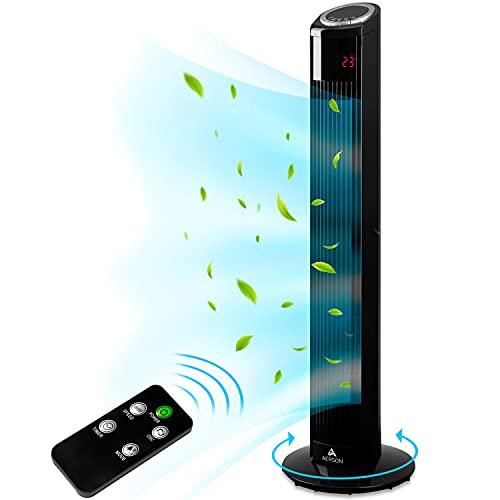AERSON Turmventilator mit Fernbedienung 90 cm | Standventilator mit Oszillation | Ventilator 3 Geschwindigkeitsstufen | LED Display Raumtemperaturanzeige Timer | Tower Fan - 45 W (Schwarz)