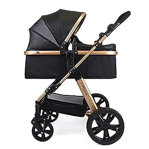 Pixini Cochecito (Arizona 2 en 1, incluye capazo y silla de paseo, marco de aluminio, con paquete de accesorios en color dorado/negro)