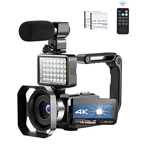 4k Camcorder with Microphone 56MP WiFi Camera with 16X Digital Zoom and Night Vision Live Streaming Recorder for YouTube Vlogging Camera Photography Stabilizer Remote Control (2 Batteries Included)