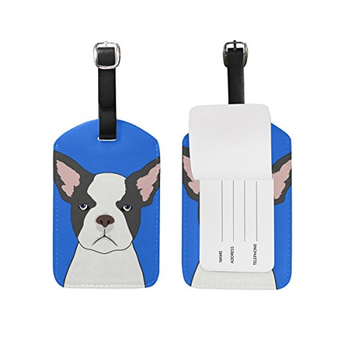 My Daily French Bulldog Luggage Tag PU Leather Bag Tag Travel Suitcases ID Identifier Baggage Label 1 Piece