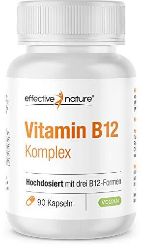 Hochdosierter Vitamin-B12-Komplex - Mit drei B-12-Formen - Vegan und frei von Gentechnik - 500 mcg B12 pro Tag - 90 Kapseln