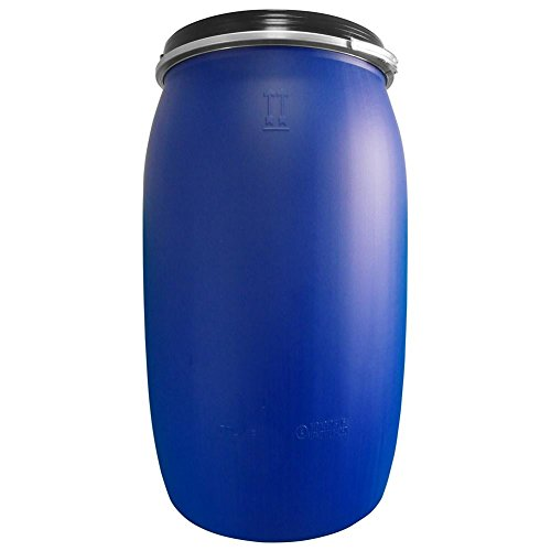 Fusto in plastica (HDPE) ad apertura totale, rotondo, capacità 220 Lt, ADR/ONU per solidi (coperchio incluso) (220 Lt - Polietilene Alta Densità (HDPE))