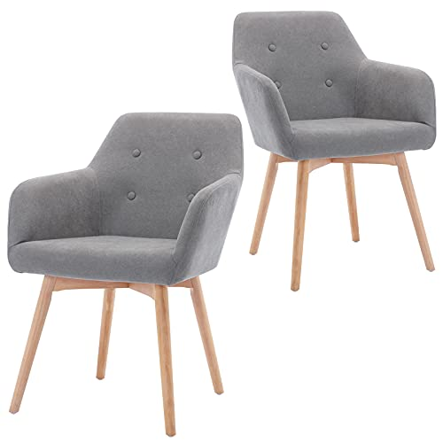 GOLDEN BEACH Modern Living Dinning Room Arm Chair Set of 2 Brushed Fabric Accent Chair Upholstered Side Chair with Solid Wood Legs(Light Grey)
