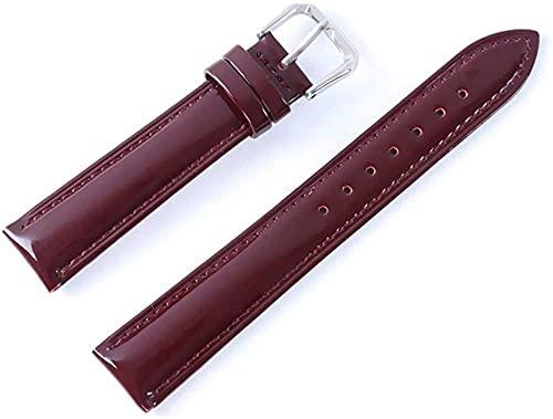 XiangRuiDa 16/18/20mm Soft Watch Strap Shine Patent Wamkand Banda de Relojes de Cuero para Hombres y Mujeres-Vino Rojo_18mm Beautiful