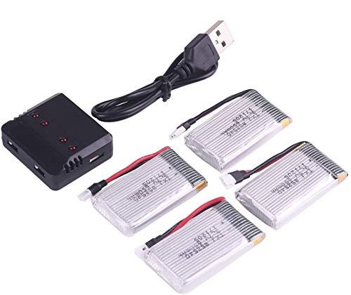 Crazepony-UK 4pcs 1S Lipo 3.7V 650mAh Batteria with Lipo Battery USB Charger for RC Syma X5 Serial UAV Drone Vehicle
