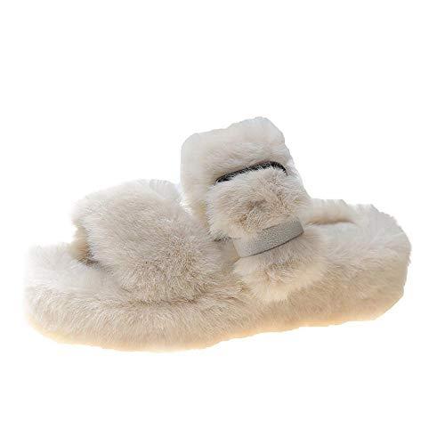 N/A Pantuflas de Felpa, Pantuflas de Felpa de Invierno para Mujer, Zapatos Exteriores de Suela Gruesa, Regalo de Acción de Gracias-Creamy-White_36