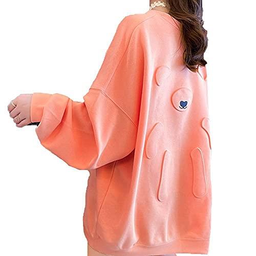 Tbylf Sudadera para mujer con estampado de búhos, cuello redondo, moda, naranja, XL