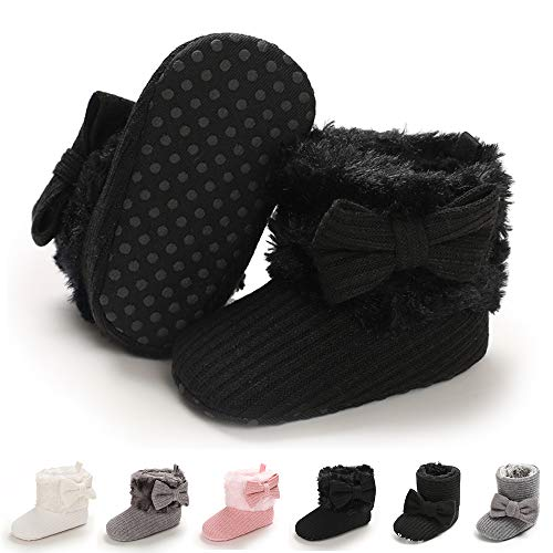 E-FAK Baby Girl Winter Snow Bowknot Boots Anti-Slip Soft Sole Warm Newborn Infant Toddler Prewalker Boots(D/Black, 6-12Months)