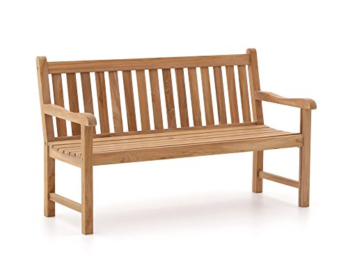 Sunyard Stabile Wales Gartenbank 2 Sitzer | Teakholz Gartenbank 120 cm | Aus unbehandeltem massivem Teakholz, Sitzbank für Garten oder Balkon | Wetterfest, pflegeleicht und klassisches Aussehen
