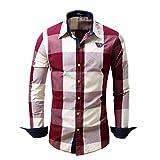 Hombres de Manga Larga a Cuadros Europeos y Americanos Color a Juego Moda Irregular Dobladillos Botones Sueltos Casual Vintage Top Shirt XL