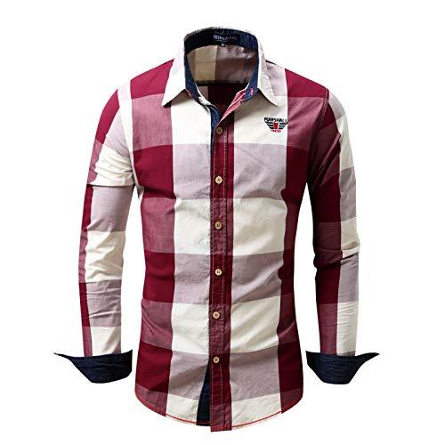Hombres de Manga Larga a Cuadros Europeos y Americanos Color a Juego Moda Irregular Dobladillos Botones Sueltos Casual Vintage Top Shirt 3XL