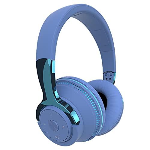 Oqqo Auriculares inalámbricos Bluetooth 5.1 Tiempo de reproducción 24H Luces LED de Colores Auriculares Auriculares estéreo Plegables para teléfono Blue