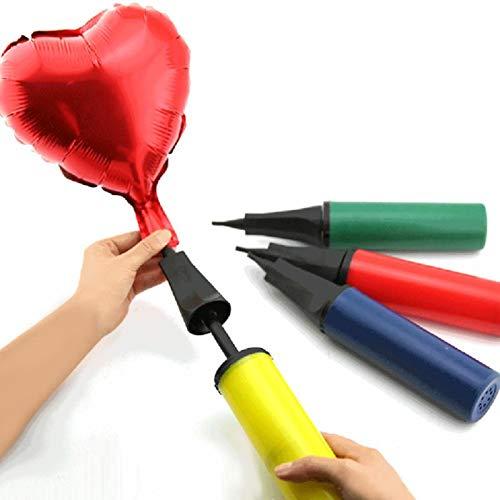 ShopVip Gonfler Ballon Anniversaire, Ballon Mariage - Pompe Ballon Manuelle - Gonfleur Ballon - Pompe Ballon Aluminium - et Ruban Or Doré 10m Deco Anniversaire