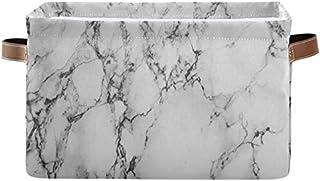 Doshine Panier de rangement pliable avec poignées Motif marbre