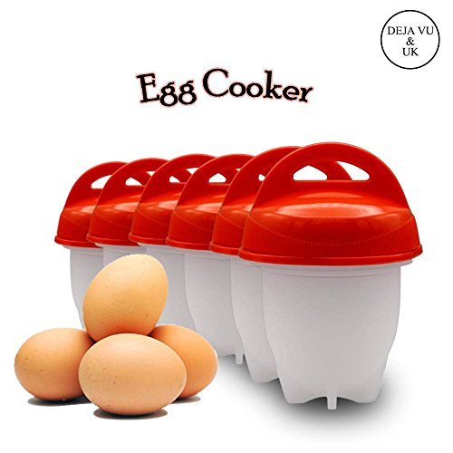 Deja Vu & Uk (Upgrade 2019) Egg Cooker Hard & Soft Maker, Use Oil, Non Stick Silicone, Poacher, Boiled, Steamer,JUST LIKE YOU SEE ON TV 6 pack