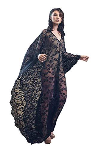 GW Vestido De Gran Tamaño con Encaje Suelto, Falda Larga, Ropa De Playa para Vacaciones, Blusa, Vestido para Mujer Vestido De Noche Largo Falda Larga De Malla,Negro,One Size