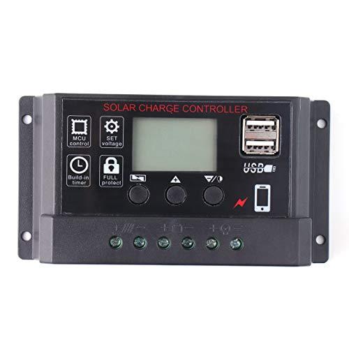 BIYI Portable 30A Amp Panel solar Regulador de batería Controlador de cargador solar con pantalla LCD digital Pantalla 12 / 24V Auto USB (negro)