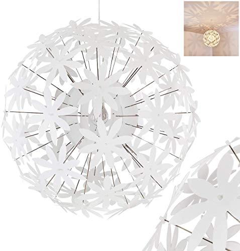 Hängeleuchte Chimore, moderne Pendellampe aus Metall/Kunststoff in Weiß, 1-flammig, Ø 60 cm, Höhe 150 cm (kürzbar), E27 max. 60 Watt, Hängelampe mit Blumenmuster, LED geeignet