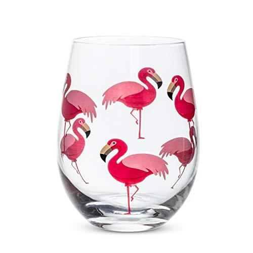 Abbott Collection 27 SG Flamingo copa sin tallo, 4 pulgadas de alto, 4 pulgadas de alto, transparente y rosa