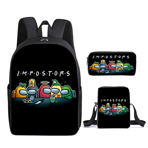 Naugust Kids Game Backpack Student Young Teenagers Schoolbag Crossbody Bag and Pen Bag