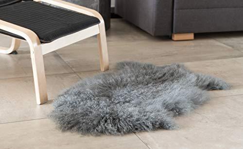 Deerlux QI003480G Mongolian Lamb Fur Sheepskin Rug Natural Single Pelt, Gray