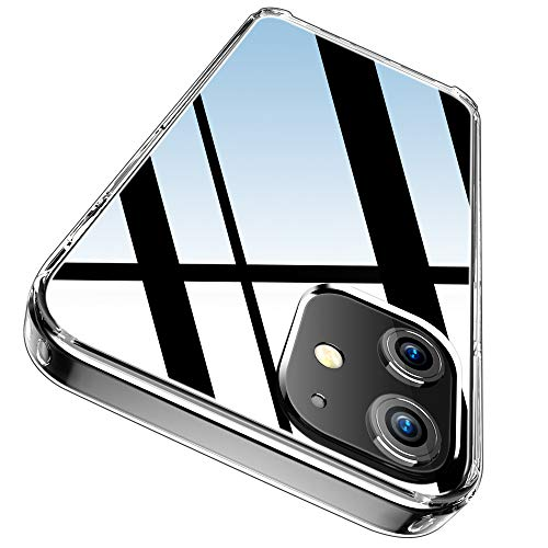 """FLOVEME Crystal Clear Case Compatible with iPhone 12 Mini Case - [Anti-Yellowing] Shockproof Protective Ultra Slim Case Cover Designed for iPhone 12 Mini 5g Cases [5.4""""]"""