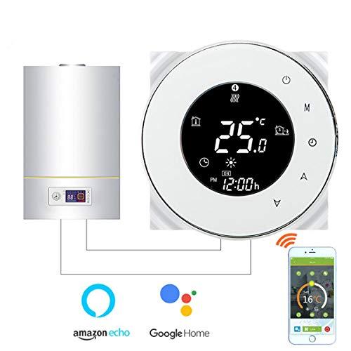 Termostato Inteligente para caldera de gas/agua,Termostato Calefaccion Wifi Pantalla LCD (pantalla TN) Bot¨®n t¨¢ctil retroiluminado programable con Alexa Google Home and Phone APP-Redondo/Blanco