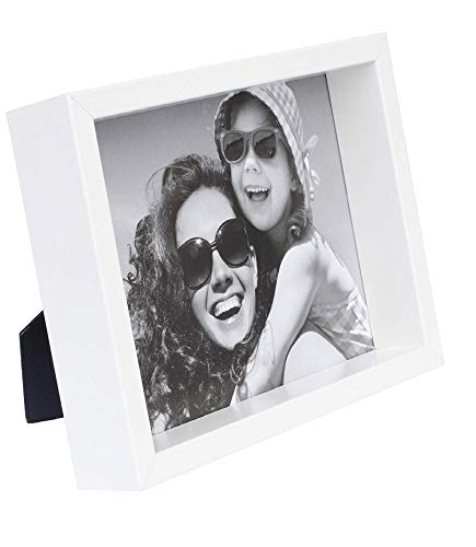 BD ART 8x10 inch White Deep Picture Frame Made of Wood and High Definition Glass - Portrait or Landscape Display on The Wall or Tabletop