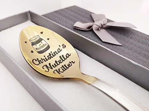 Peanut Butter Löffel - Gravur Löffel für Nutella Liebhaber - Premium Qualität Edelstahl mit goldener Titanplatte - Volltext und Name personalisierbar - Dad's Peanut Butter Löffel - edle Verpackung