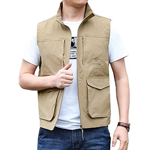 Hombre al Aire Libre Talla Grande Chaleco de Fotografo Pesca Secado Rápido Elástico Vest Verano Bolsillos Vestir para Negocio o Camping Deporte Multiuso