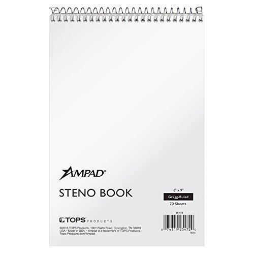 Ampad Steno Notebook, 15,2x 22,9cm, weiß Papier, Gregg liniert, weiß, 70Blatt pro Buch, 12Stück (25–472)