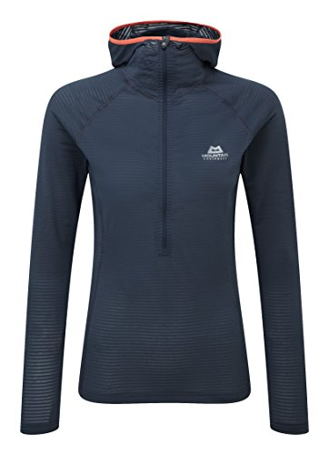 Mountain Equipment Solar Eclipse Womens Hooded Zip Tee, 14 UK Damen, Blue Nights