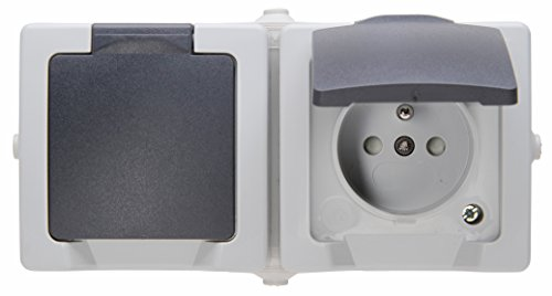 Kopp 137156005 Stopcontact met midden-beveiliging, 2-voudig met klapdeksel en verhoogde contactbescherming, AP-FR Nautic grijs