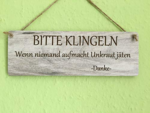 Türschild Deko schild Landhaus Vintage Shabby Retro Bitte klingeln - Unkraut jäten Dekoschild Tafel Bild Wandbild Deko Dekoschild