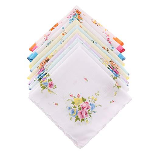 Bonarty 10er Womens Vintage Print Baumwolltaschentuch Pocket Taschentuch Groß Set