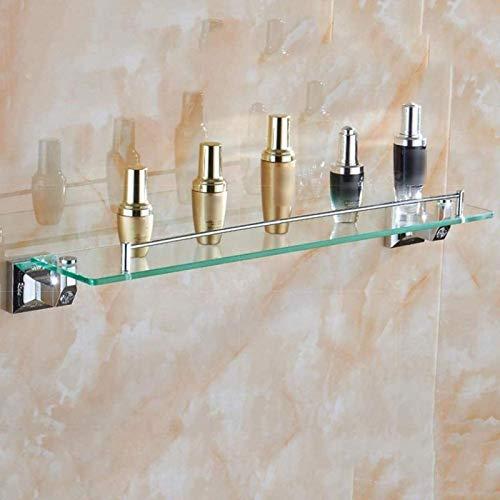 ZKZKK Enganche Stand, El Vidrio Templado Plataforma de baño, Maquillaje Rack, Cromo 1 Nivel de Hardware Estante de la Pared, Cobre Plata Fácil de Lnstall