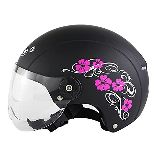 YAYT Casco clásico Retro de Motocicleta para Adultos, Negro/Blanco/Rosa, con Gafas, Cara Abierta Personalizada, Medio Casco de Motocicleta ciclomotor, Aprobado por Dot/ECE (58-62cm)